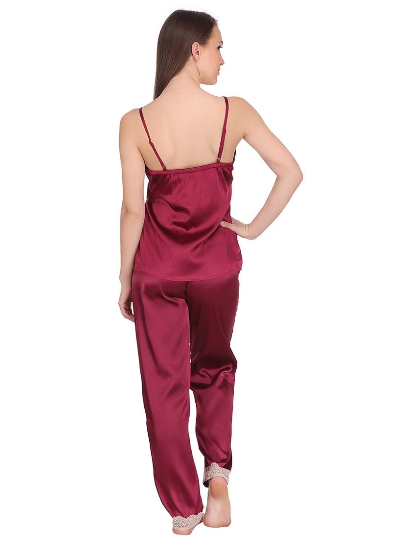 Buy Red Satin Nightwear Pyjama Set by Clovia - Online shopping for Nightwear  Sets in India  039708cc0