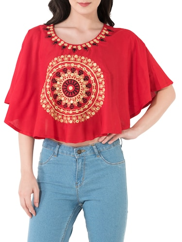 red rayon top - 14762082 - Standard Image - 1