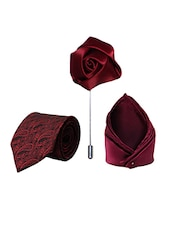 maroon micro fiber tie with lapelpin and handkerchief -  online shopping for Ties