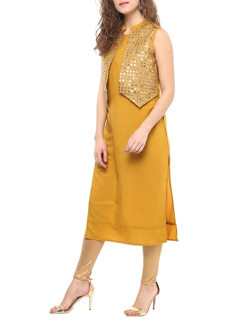 f5698d6570f Buy Straight Kurta With Mirror Work Jacket for Women from Napra for ₹495 at  67% off