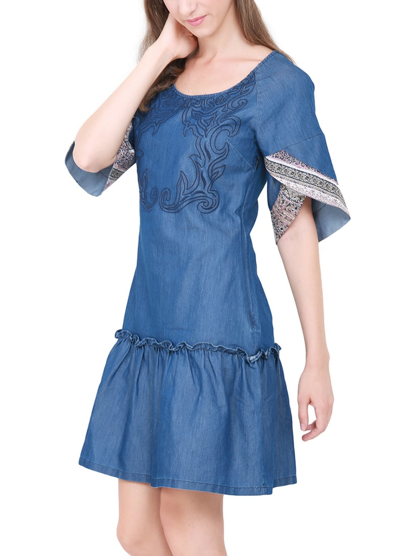 5b6c0e4125 Buy Frill Detail Embroidered Denim Dress for Women from Heather Hues for  ₹1338 at 52% off