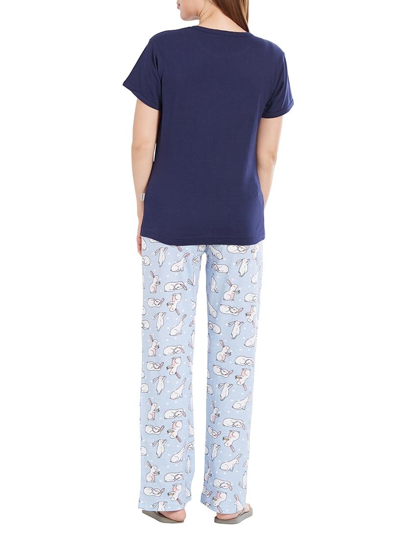 Buy Navy Blue Nightwear Pyjama Set by Velvet By Night - Online shopping for Nightwear  Sets in India  78438448c