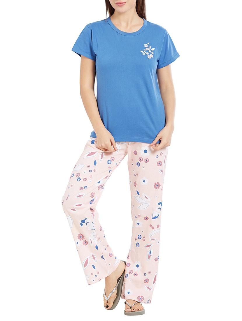 Buy Blue Nightwear Pyjama Set by Velvet By Night - Online shopping for Nightwear  Sets in India  737946855
