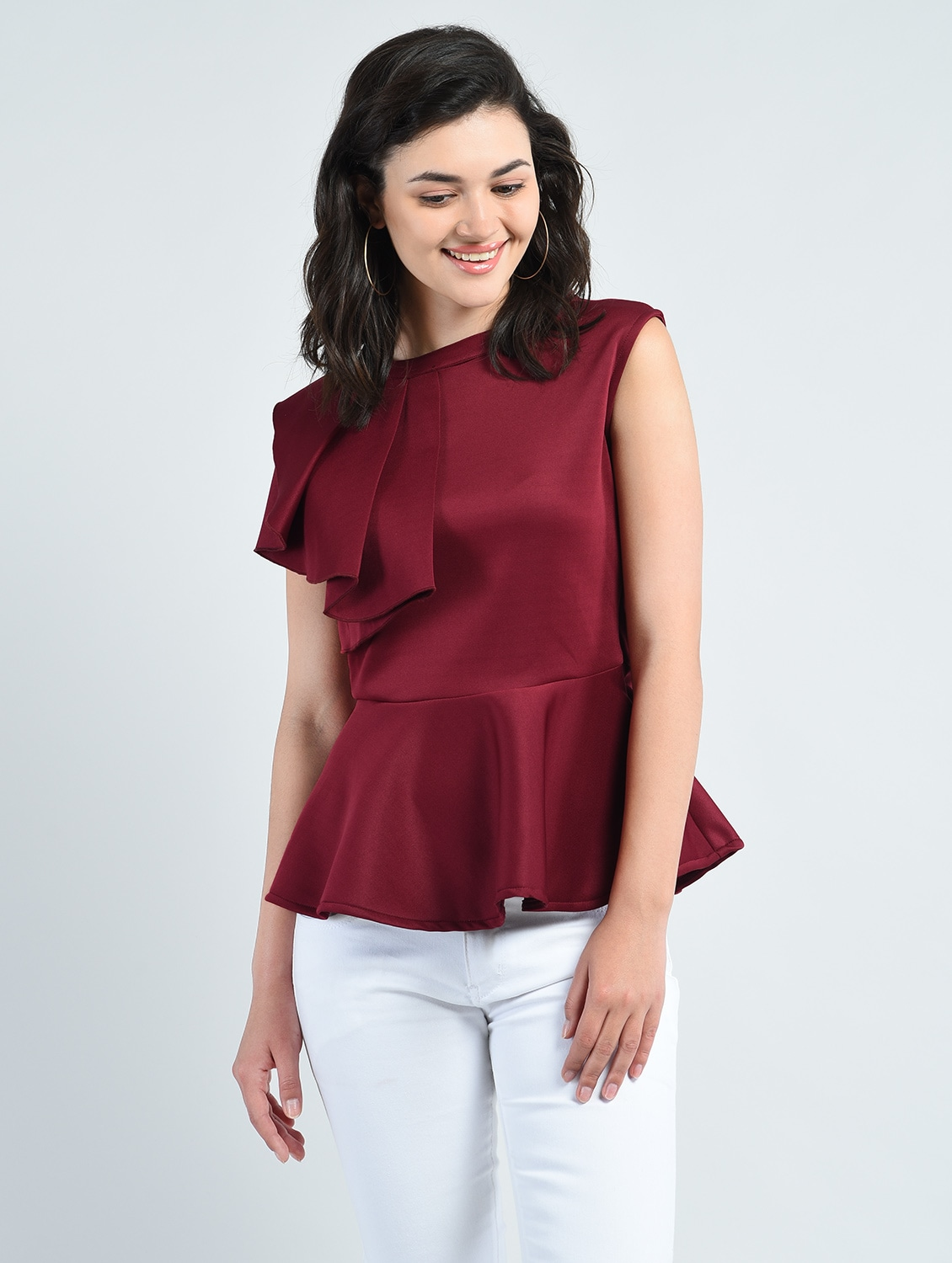 7ca28814af552c Buy Side Ruffle Trim Peplum Top for Women from Aara for ₹537 at 46% off