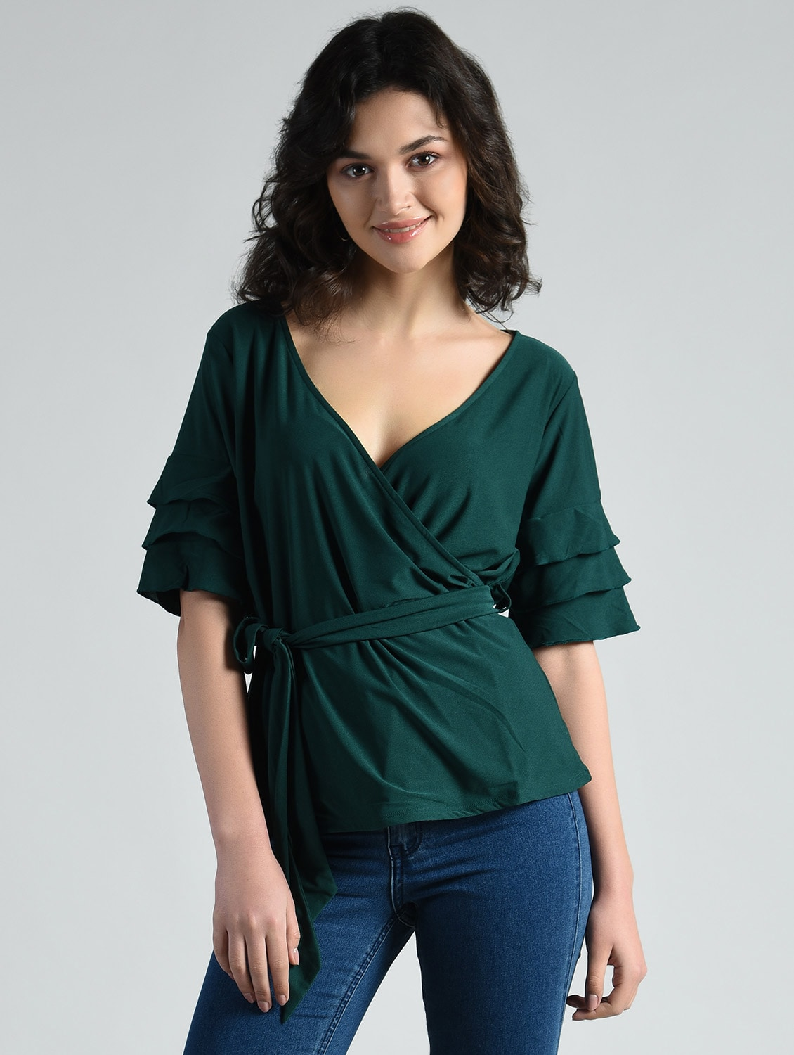 fbbd0b720bfb2b Buy Self Tie Up Layered Ruffle Sleeved Top for Women from Aara for ₹537 at  46% off
