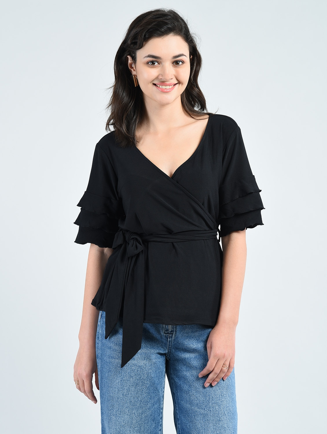 737f1a79f58be Buy Solid Black Wrap Top for Women from Aara for ₹537 at 46% off ...
