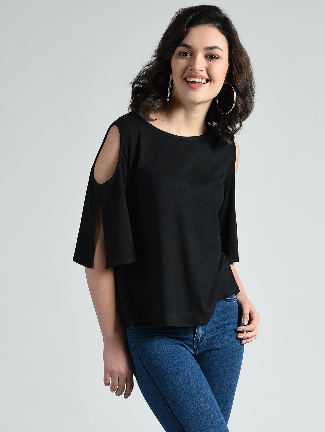 f467288527f45d Buy Slit Sleeve Cold Shoulder Top for Women from Aara for ₹537 at 46% off