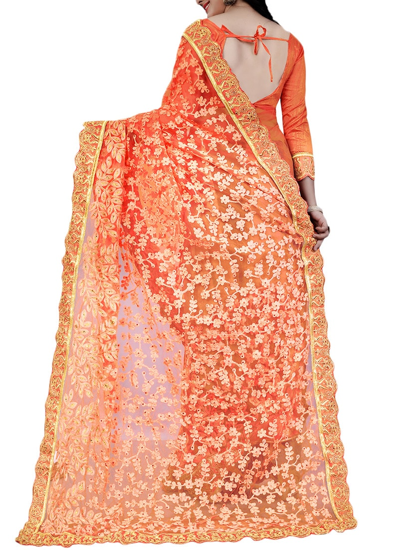 Buy Orange Net Embroidered Saree With Blouse By Designer Bahu