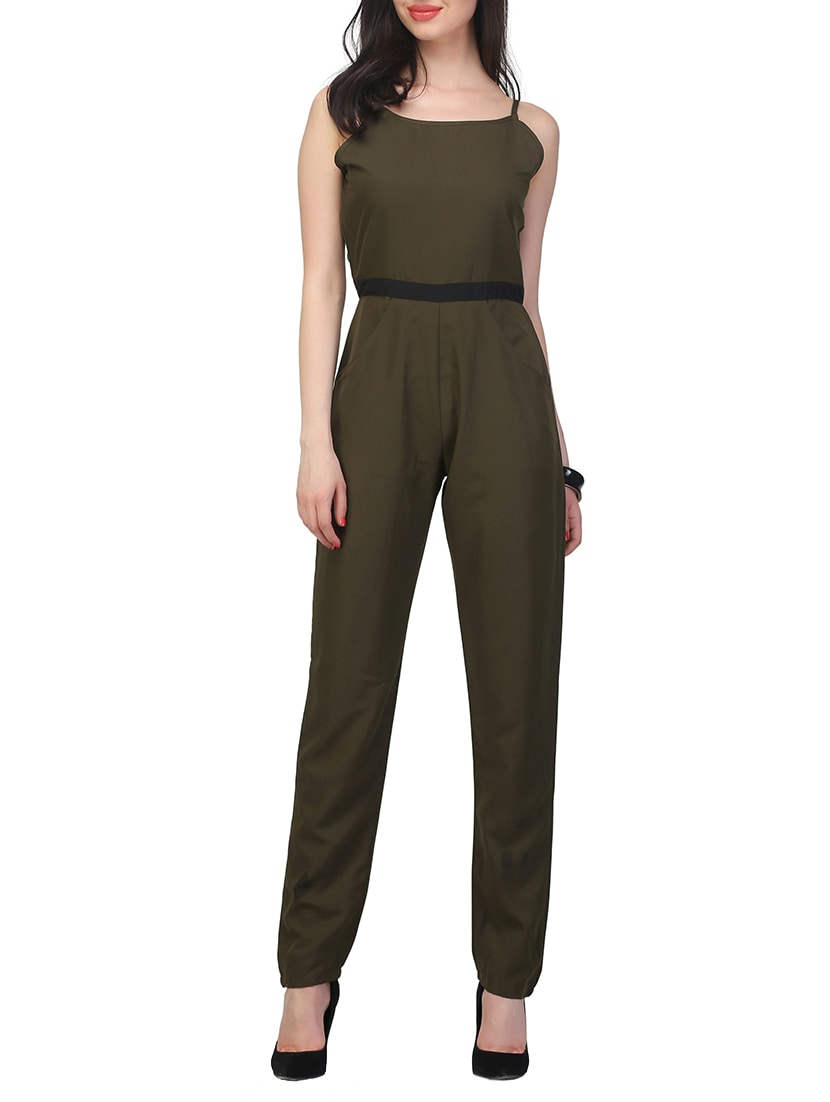 d4d7330a9db Buy Green Crepe Full Leg Jumpsuit for Women from Jha Fashion for ₹1039 at  60% off