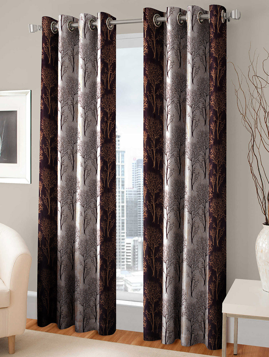Buy Polyester Desginer Single Window Curtain By Trendz Home