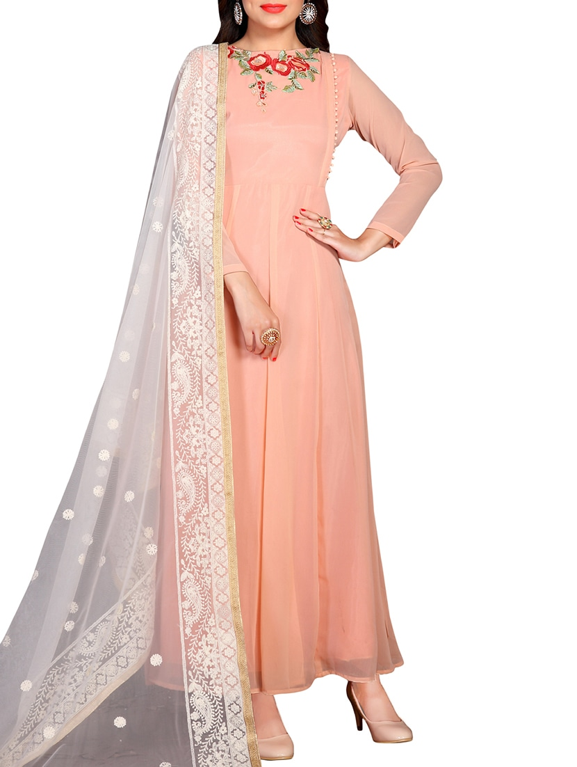 81450d00cbca Buy Peach Georgette Anarkali Suits Semistitched Suit for Women from  Satadhar Fashion for ₹1862 at 51% off | 2019 Limeroad.com