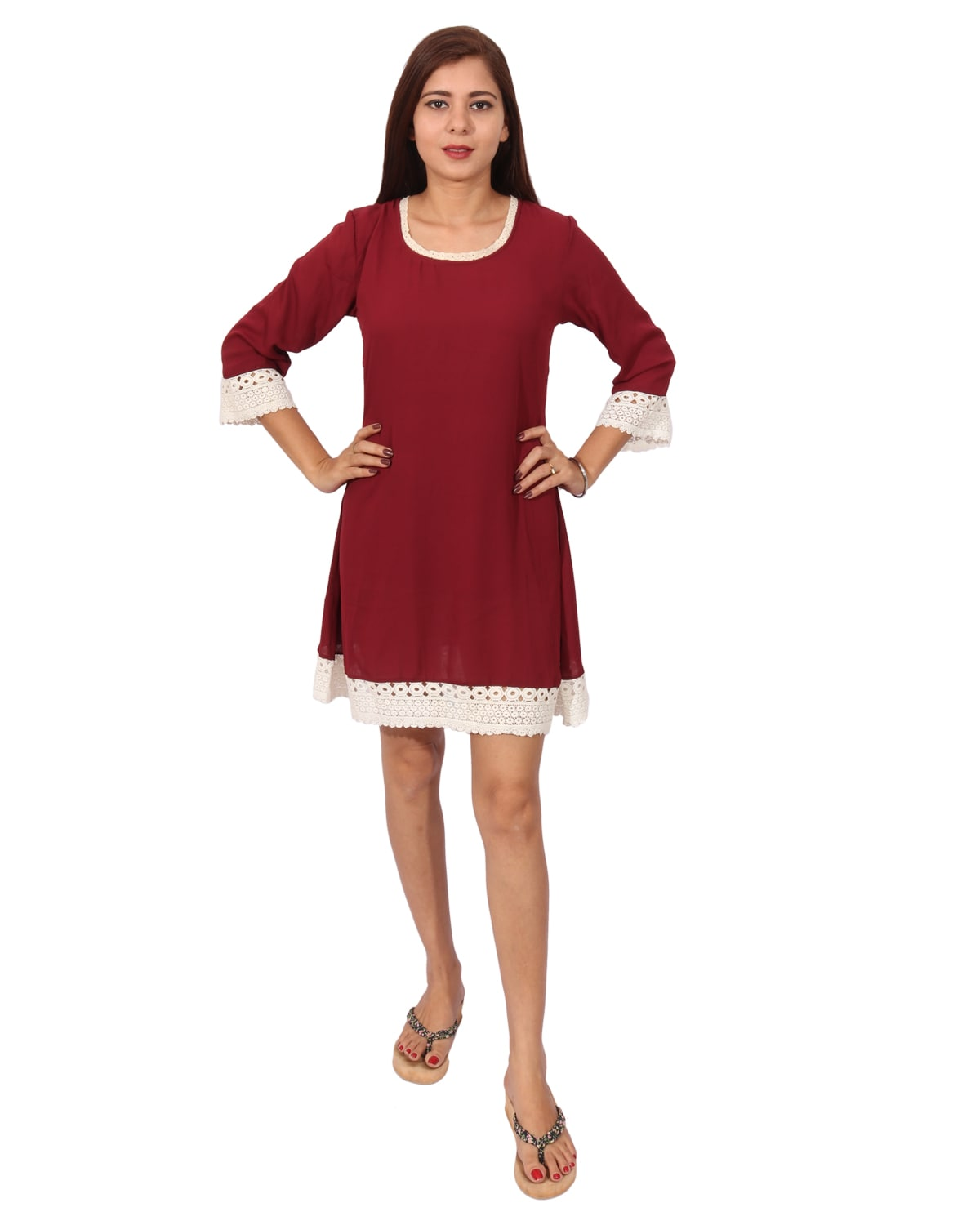 6dfeb3cc4204 Buy Maroon Solid A-line Dress by Rivi - Online shopping for Dresses in  India