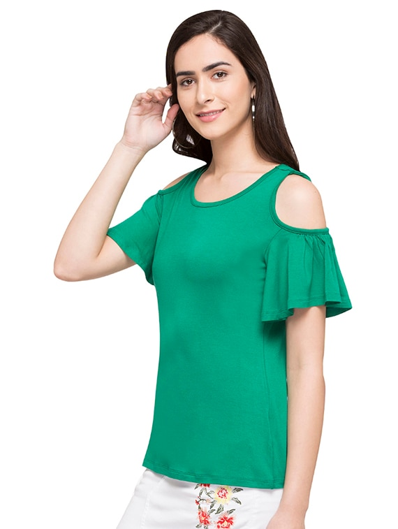 e1065ecb8526cf Buy Cold Shoulder Flutter Sleeved Top by Globus - Online shopping for Tops  in India