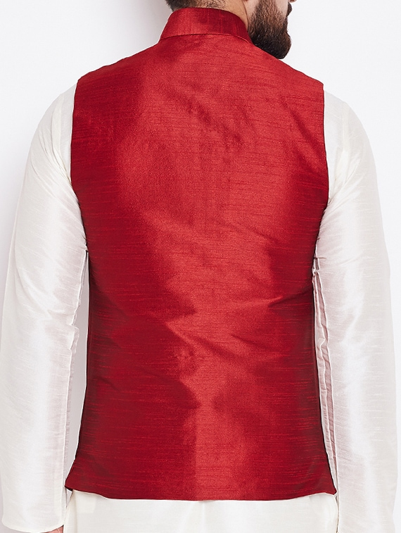 753f081c9ed Buy Red Silk Nehru Jacket for Men from Sojanya for ₹1578 at 55% off | 2019  Limeroad.com