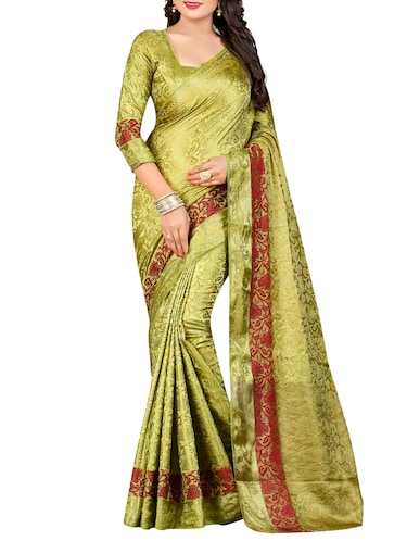 mehandi cotton silk banarasi saree with blouse - 14799723 - Standard Image - 1