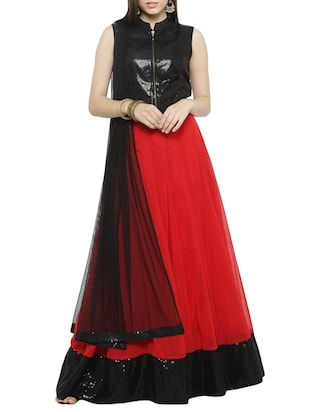 red georgette flared lehenga -  online shopping for lehengas