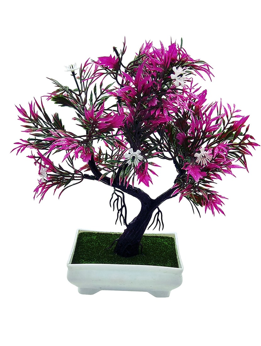Buy artificial plant with pot y shaped bonsai with purple leaves buy artificial plant with pot y shaped bonsai with purple leaves and white flowers by random by random flowers online shopping for indoor plants in mightylinksfo