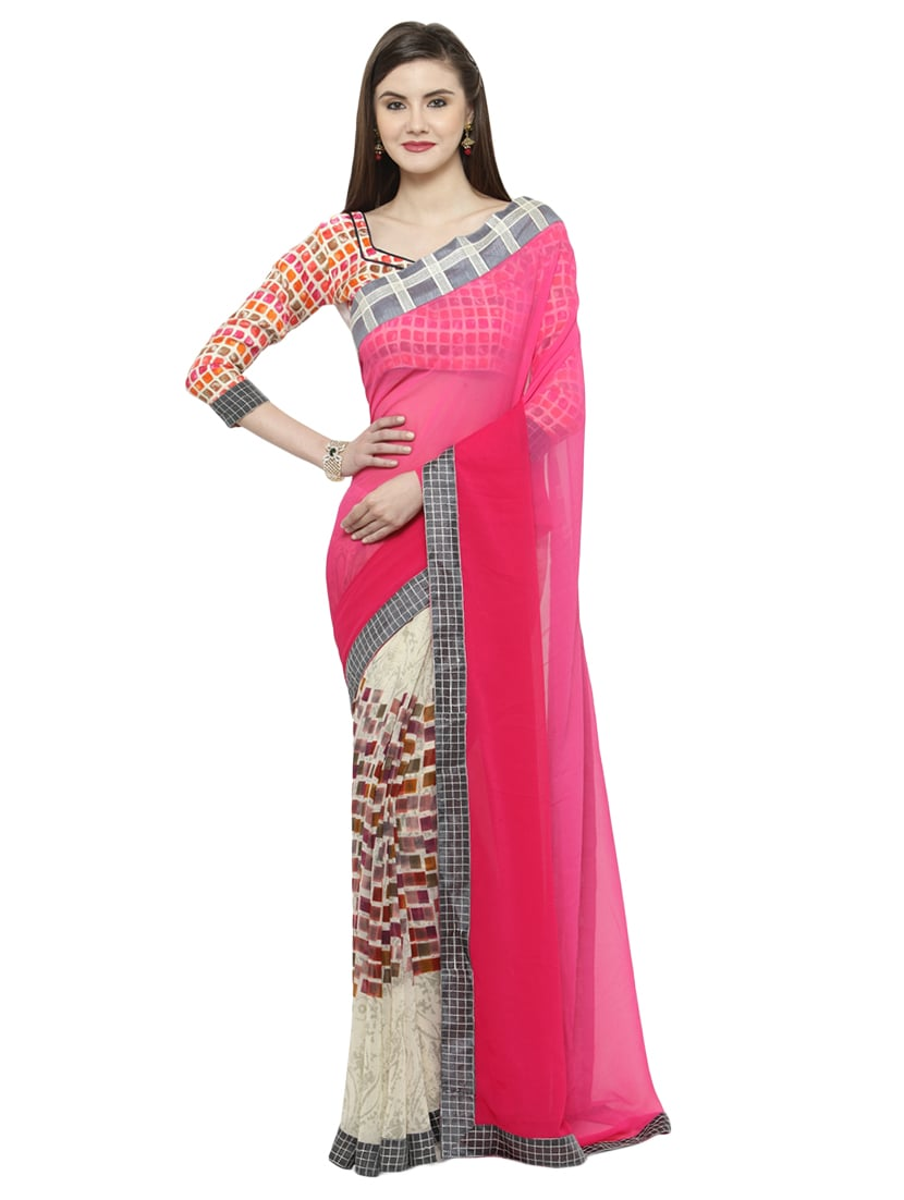 b57d07c2fb4 Buy Pink Georgette Printed Saree With Blouse for Women from Shaily for  ₹1241 at 82% off