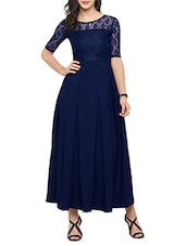 navy blue crepe maxi dress -  online shopping for Dresses