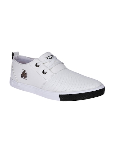 white Leatherette lace up sneaker - 14810775 - Standard Image - 1