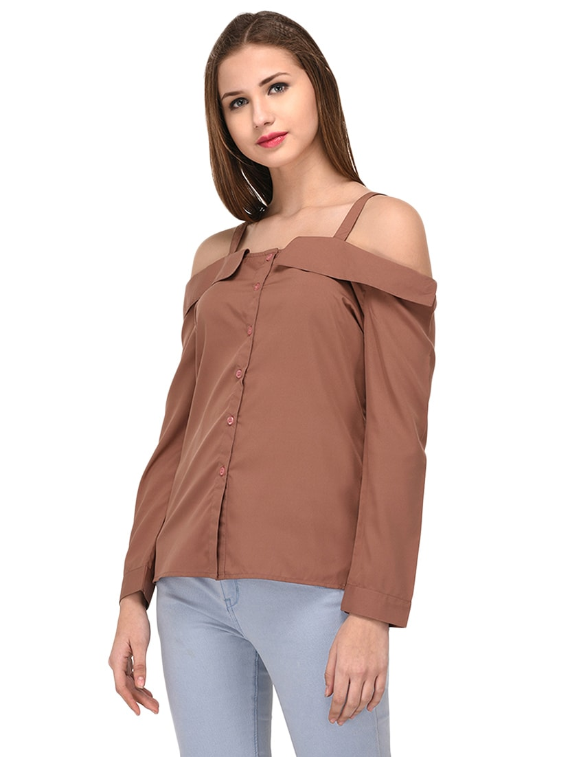 9960131ee9a574 Buy Brown Solid Cold Shoulder Top by Purys - Online shopping for Tops in  India
