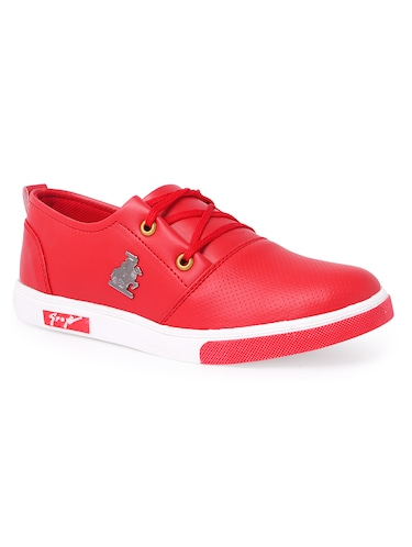 red leatherette lace up sneaker - 14811722 - Standard Image - 1