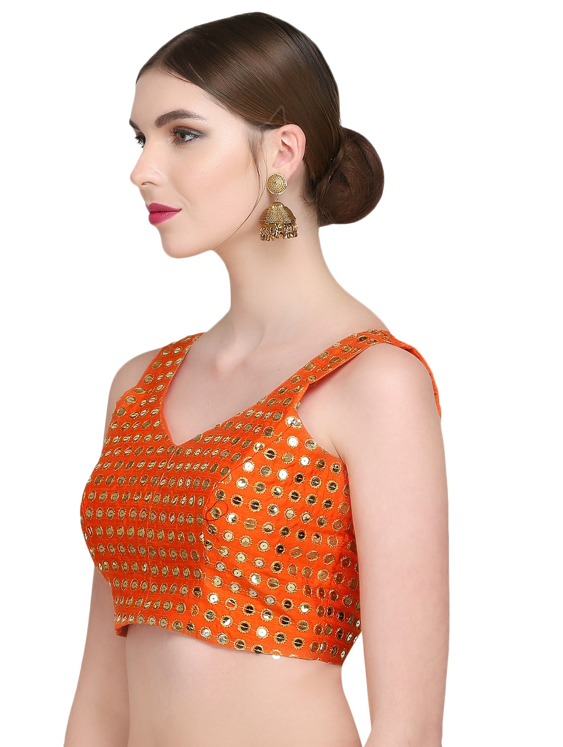 03b540d254324 Fabrics Sarees Fashion Jewellery Source · Buy Orange Brocade Blouse by Kaanchie  Nanggia Online shopping for