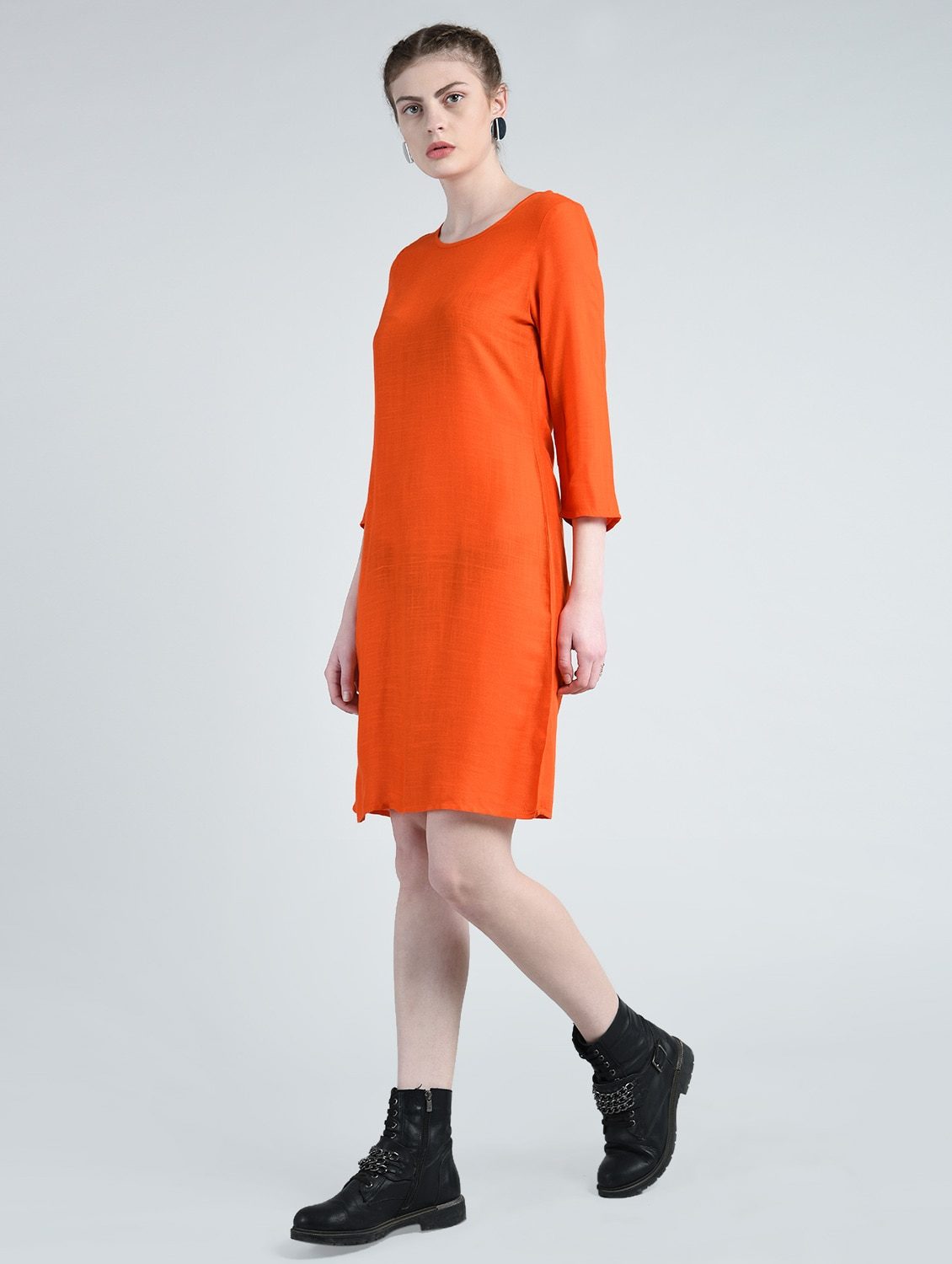 Buy Mandarin Orange Shift Dress By A K Fashion Online Shopping For