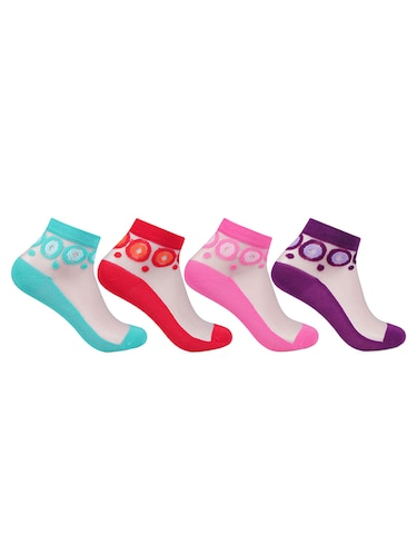 Set of 4 multi colored cotton ankle length sock - 14818250 - Standard Image - 1