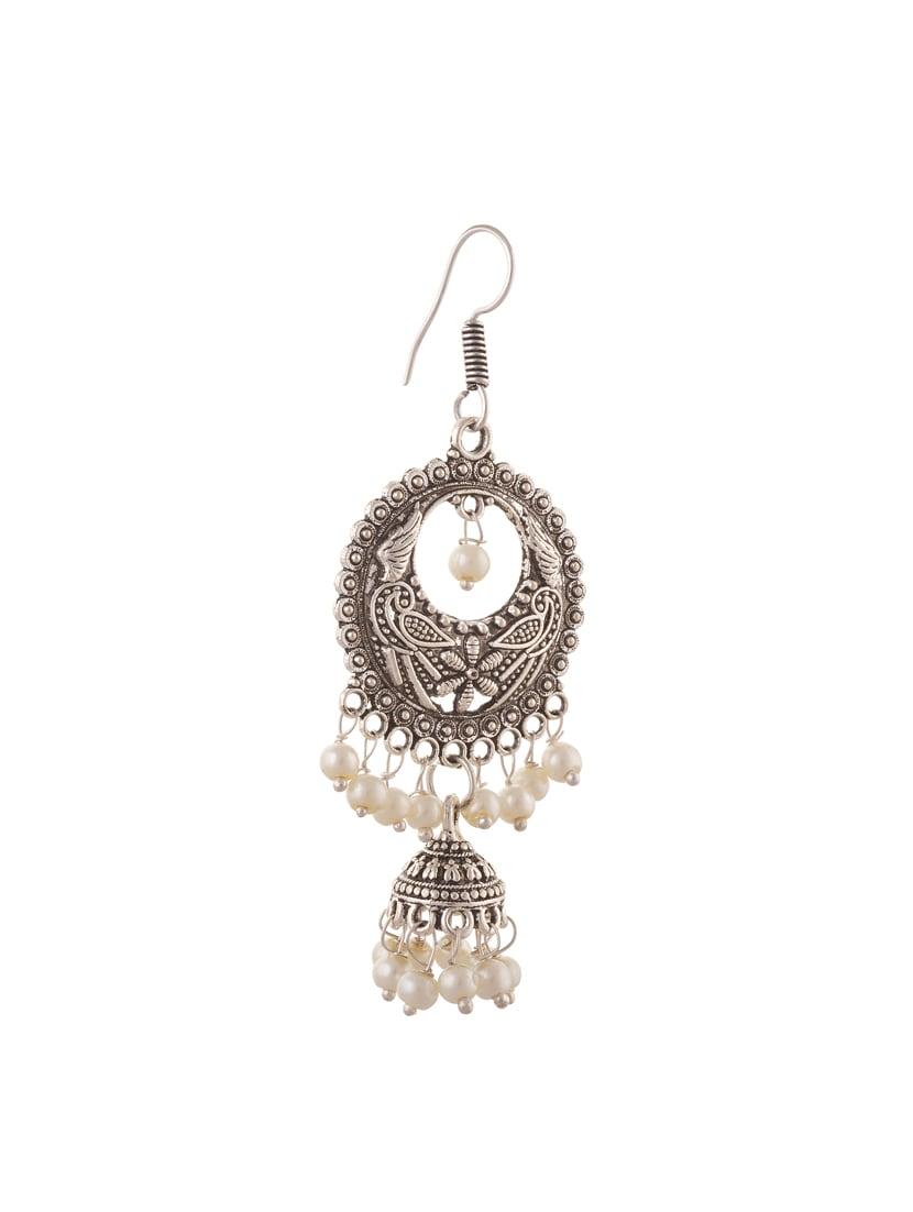 Oreleaa Fashion German Silver Hanging Hook Chandbali Jhumki Earrings for Girls For Girls and Women