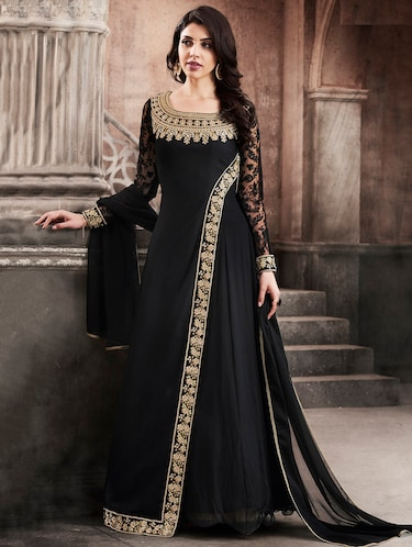 9b6d56f4bb3 black color, georgette embroidered dress material