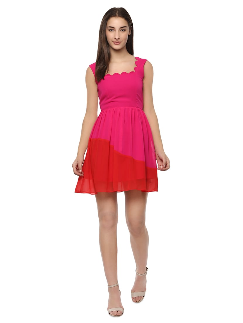 3daa931e7aae46 Buy Color Block Scallop Flared Dress for Women from Roving Mode for ₹983 at  57% off