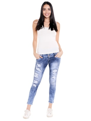 blue denim distressed jeans - 14848349 - Standard Image - 4