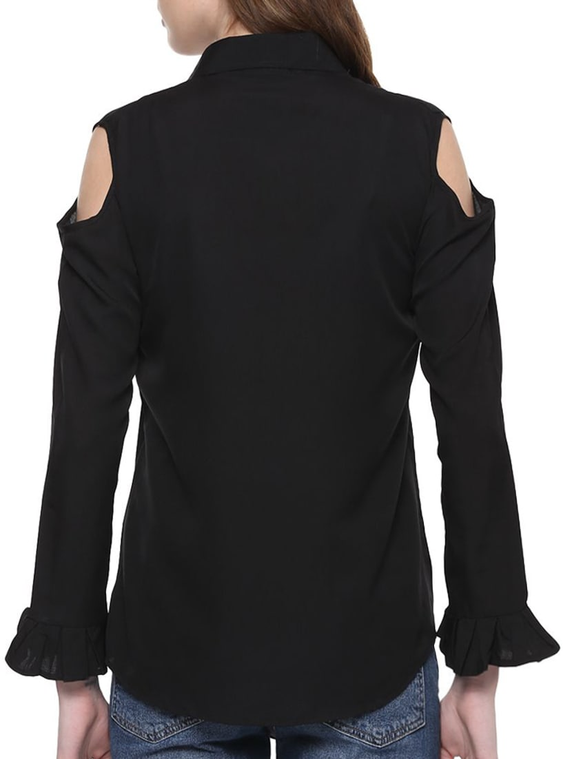 fc684fa77033b Buy Black Solid Cold Shoulder Shirt for Women from Indietoga for ₹514 at 47%  off