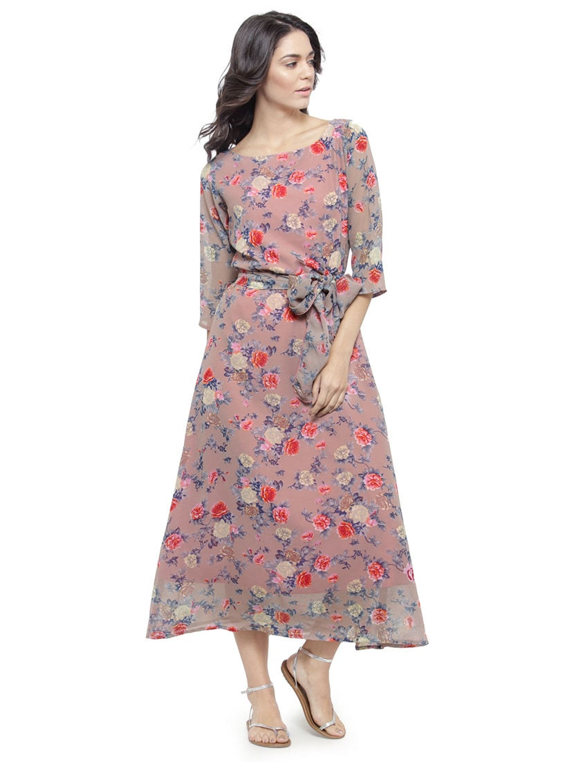 6dfa24829b Buy Beige Floral Belted Dress for Women from Azira for ₹800 at 50% off