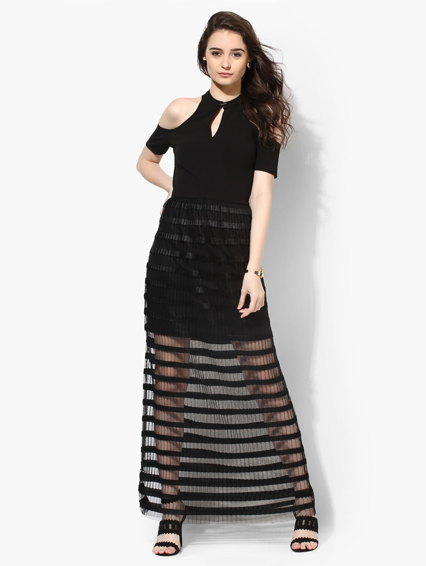 5e63d5b681541 Buy Black Striped Maxi Dress by Kazo - Online shopping for Dresses in India