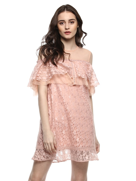 03e1a68775 Buy Floral Mesh Flounce Cold Shoulder Dress for Women from Kazo for ₹1745  at 50% off | 2019 Limeroad.com