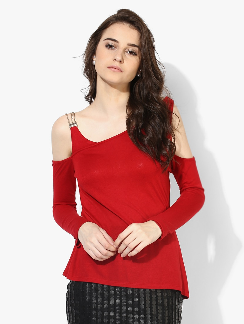 659968eeabc Buy Red Cold Shoulder Top by Kazo - Online shopping for Tops in India
