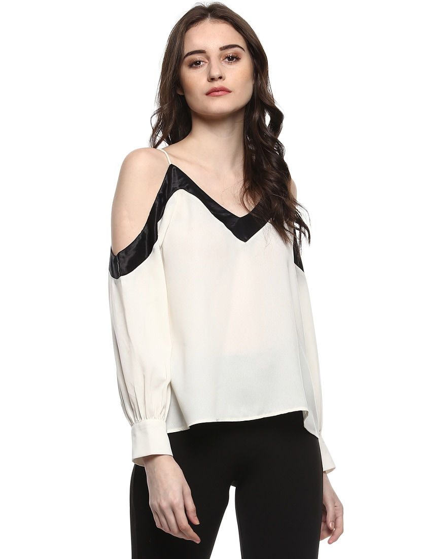 Buy White Cold Shoulder Top by Kazo - Online shopping for Tops in India  0911433a7