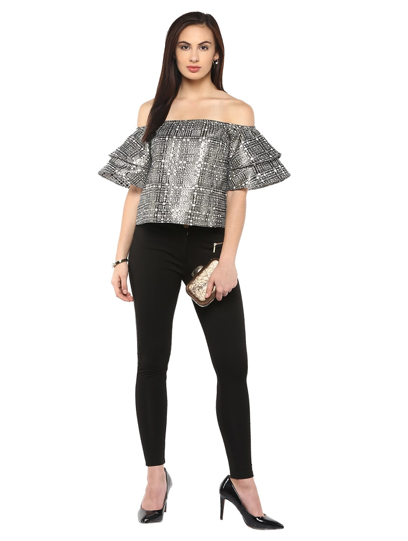 3e3b345aed8 ... layered sleeved off shoulder top - 14850308 - Zoom Image - 4