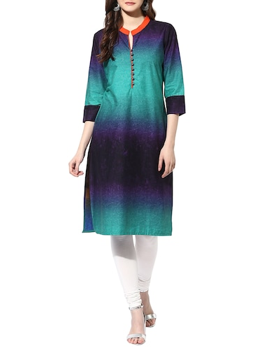 blue cotton straight kurta - 14853031 - Standard Image - 1