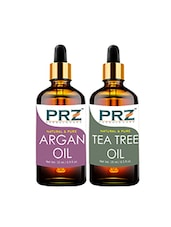 PRZ Combo Set Of  Moroccan Argan Cold Pressed Carrier Oil & Tea Tree Essential Oil ( Each 15ml ) - By