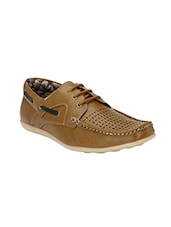 tan leatherette lace up boatshoe -  online shopping for boatshoes
