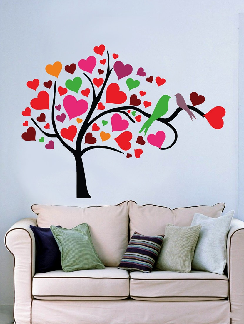 Bird Heart Tree Black Color Wall Sticker