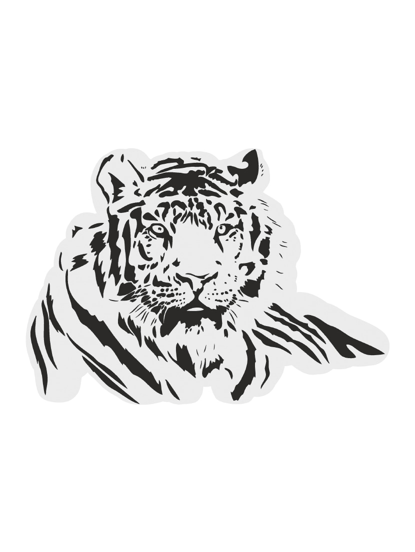 White tiger black color wall sticker