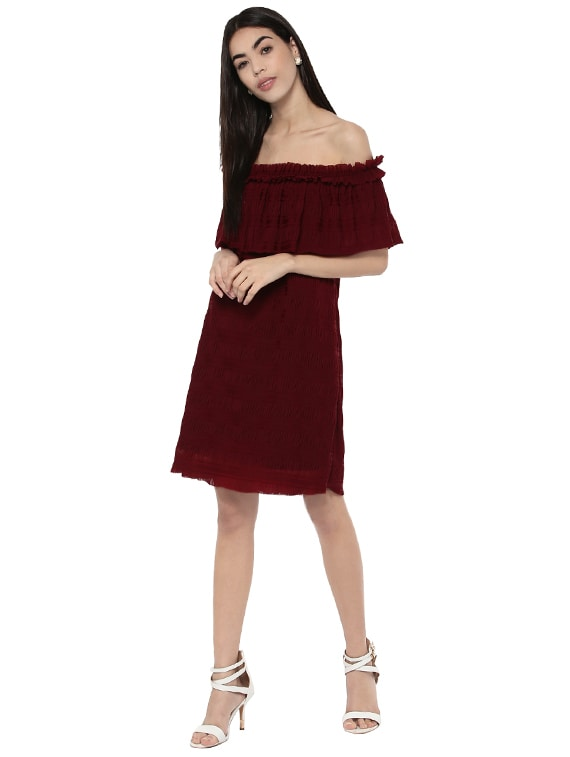 a170412f6e22 Buy Maroon Off Shoulder Dress for Women from Kazo for ₹1884 at 46% off