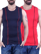 navy & red cotton vest -  online shopping for Vests