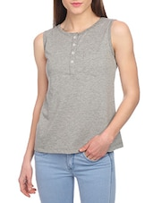 grey solid tank tee -  online shopping for Tees