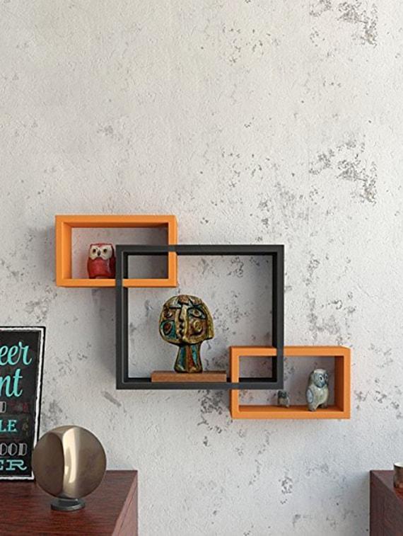 Wooden Wall Shelves Rack Living Decor Interscting Floating Shelf
