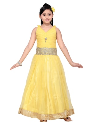 yellow net party gown - 14873211 - Standard Image - 4